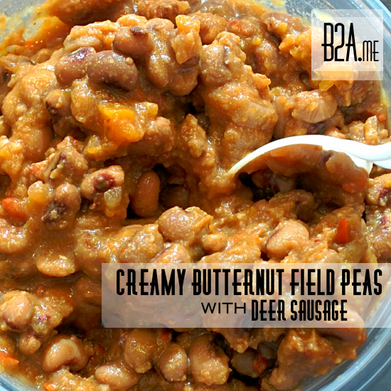 The butternut squash flavor is mild, borderline nonexistent, but it sure did give the peas a lovely orange hue!