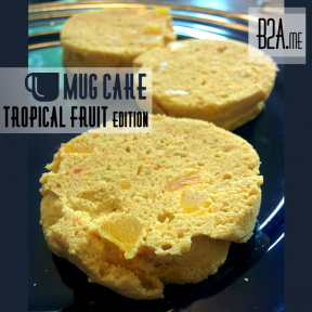 Tropical fruit - papaya, mango, and pineapple - flavored cake.