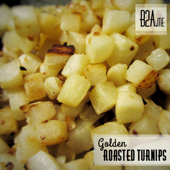 Turnip roots are an excellent replacement for starchy potatoes — if you roast them and caramelize their sugars!